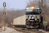 76J starts out of the siding at East Talmage with 120 loads of Indiana coal for the KU plant at Brown KY