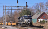 The Duncan Hill pusher shoves hard on the bottom of train 112 as they head West at New Albany