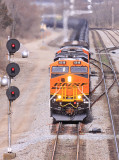 A brand new BNSF ES44C4  leads NS 68K at South Danville