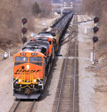 NS 68K, A southbound unit train of ethanol , splits the signals at South Danvile