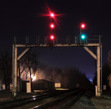 The old GRS searchlights at Junction City show a Diverging Clear for train 111