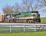 SR 8099 brings train 23G by the Aggee farm at Vanarsdale KY