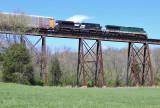 SR 8099 leads train 23G across the Pope Lick bridge, just East of Louisville