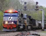 NS 179 tops over at Kings Mountain in a light rain, with Veterans unit 6920 on the point