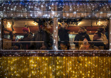 Holiday travelers on the Christmas Tram