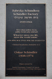 Memorial plaque to Oskar Schindler