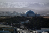Reykjavik view out of city towards geothermal water tanks Southish