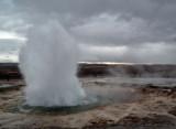 Strokkur geyser start of eruption
