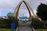 The whalebone arch in front of the cathedral