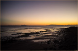 Low Tide Sunset, Two Islands and Pelicans