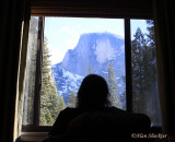 Donna looking out of our room at The Ahwahnee