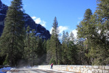 Donna gazes from a Merced River foot bridge