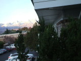 View from our hotel room first morning in Bishop. Sun lighting up the snow covered mountains