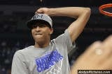 Kentucky Wildcats' Anthony Davis celebrates the National Championship