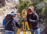 Chris Diaz and Kristin Corl, measuring instrument height