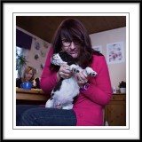 Ruth having a play with one of the pups...