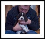 Peter giving a pup a cuddle...
