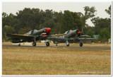 Curtis P40 Kittyhawk & CAC Boomerang take off