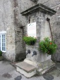 this water fountain was used as shelter by a US marksman during the fight for the town