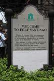 Entrance sign for Fort Santiago, a citadel first built by Spanish conquistador, Miguel López de Legazpi.