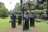Monk statues at Plaza Armas.