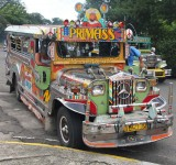 They are flamboyantly decorated. Jeepneys were originally made from U.S. military jeeps left over from World War II.