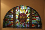 Close-up of the stained glass window. The museum's main building was designed in 1918 by an American architect, Daniel Burnham.