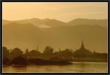 Sunset light on Phaung Daw Oo Pagoda.