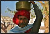 Bringing Home the Holy Water. Pushkar.