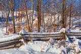 Snowy Split Rail Fence 32658