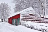 Snowy Red Garage 33874