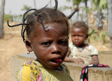 Fancy hairstyle of a little girl in Burkina Faso