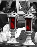 lanterns with red glass...
