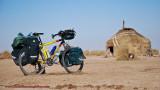 396    Marcin touring Uzbekistan - Gary Fisher Tassajara touring bike