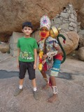 With some kid dressed up as Hanuman