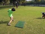 Golfing at Siri Fort.  Got first par today!