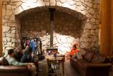 hut fireplace