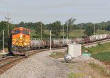 EB train 168 leaves Princeton on the siding