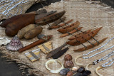 Yakel tribal handicrafts including outrigger canoes, jewellery, axes, tusks and shells