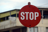 Round stop sign - Vanuatu