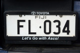 Fiji License Plate - white