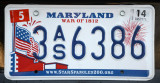 Maryland License Plate - Spar Spangled Banner, War of 1812