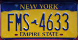 New York License Plate back in the colors of the 1970's