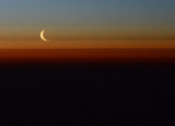 Crescent moon low on the polar horizon
