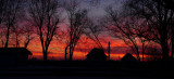 Sunset with Farmstead and Trees