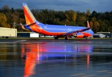 Southwest Airlines, SWA, Boeing 737, Boeing Field, Seattle, WA