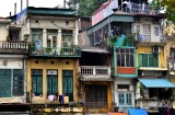 colorful buildings in Hanoi Old Quarter, Hanoi, Vietnam