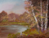 Birches Round the Pond   Orig 16x20  2010   #5137