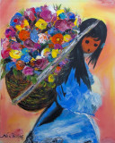 Indian Girl with Basket of Flowers  Orig  16x20  2010  #5140