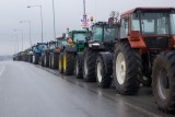 Tractors parked along the highway for comming protest-actions near Grevena